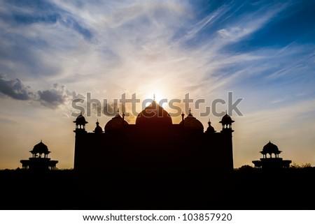 arabian mosque black silhouette