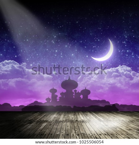 Arabian night backdrop on stage