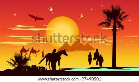 Arabian people walking whit camels in the desert on the pyramids and sunrise background