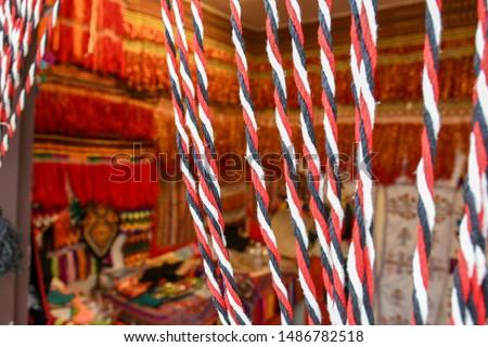 Arabian Sadu rug weaving patterns shop in Al Hijin festival activity in Taif City in Saudi Arabia. Stock fotó ©