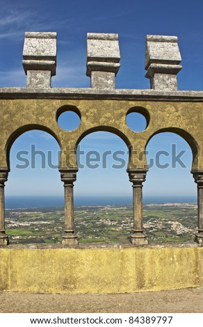 Arabian style arches of a terrace in the Pena palace in Sintra, Portugal