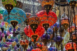 Arabian style decorative glass lamps in souvenir shop