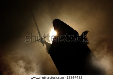 Arabian woman appearance with a sword in hand.