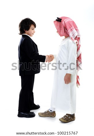 Arabic and caucasian little businessmen