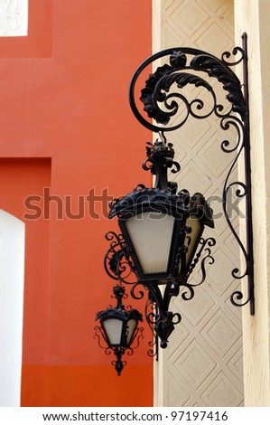 Arabic architecture: close up of  wall lamps