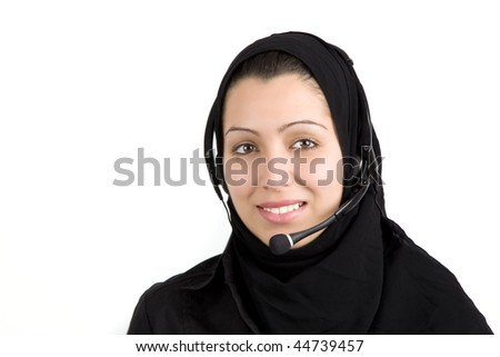 Arabic beautiful young woman with headphones with microphone on isolated white