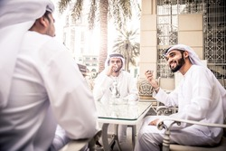 arabic business men spending time in Dubai