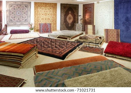 Arabic carpet shop exhibition colorful carpets exposition room
