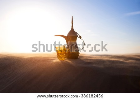 Arabic Coffee pot on desert dunes