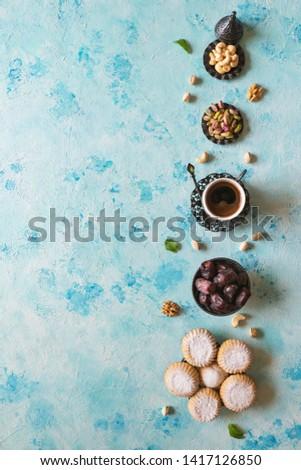 Arabic cookies Maamoul. Sweets background. Cookies of El Fitr Islamic Feast. #1417126850