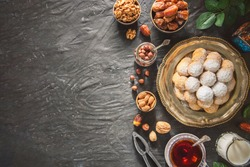 Arabic Cuisine; Cookies for celebration of El-Fitr Islamic Feast(The Feast that comes after Ramadan). Top view with copy space.