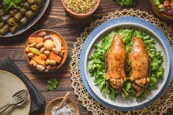 Arabic Cuisine; Egyptian traditional stuffed pigeon or