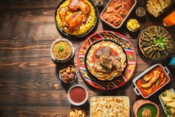 Arabic Cuisine: Middle Eastern traditional lunch. It;s also Ramadan