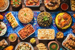 Arabic Cuisine: Middle Eastern traditional lunch. It's also Ramadan
