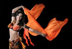 Arabic dance performed by a beautiful brunette