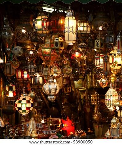 arabic lamps and lanterns - stock photo