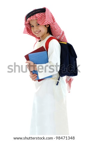 Arabic Middle Eastern school child with books and backpack