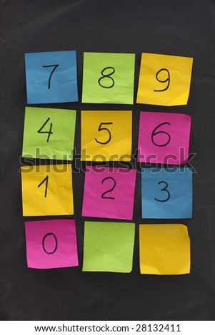 arabic numerals handwritten on colorful crumbled sticky notes and blackboard arranged as numerical keypad