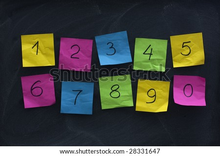 arabic numerals handwritten on colorful crumbled sticky notes and posted on blackboard with eraser smudges