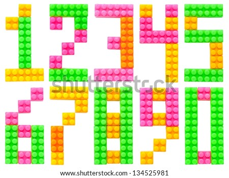 Arabic numerals made of plastic toy blocks (Lego) isolated on white background