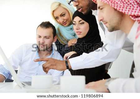 Arabic people having a business meeting - stock photo
