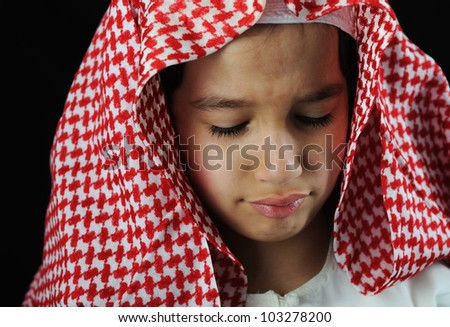Arabic sad boy - stock photo