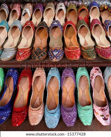 Arabic slippers in a shop window.