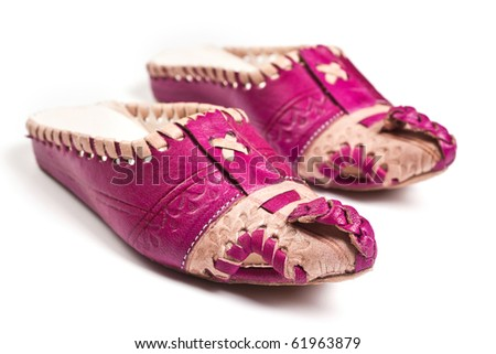 Arabic slippers isolated on white background - stock photo