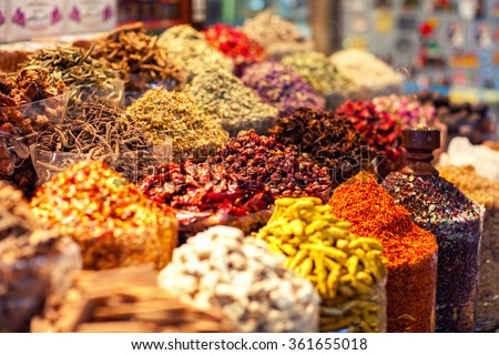 Arabic Spices at the market Souk Madinat Jumeirah in Dubai, UAE