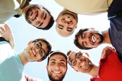 Arabic students posing at campus