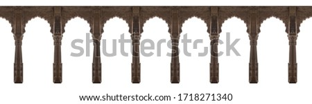 Arabic style arches isolated on white background. Elements of architecture, ancient arches, columns, windows and apertures Сток-фото ©