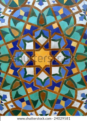 Arabic Tile Background in the Hassan II Mosque in Casablanca, Morocco