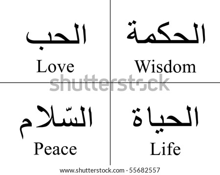 Love Words Picture on Arabic Words Isolated On White With Their Meaning In English For