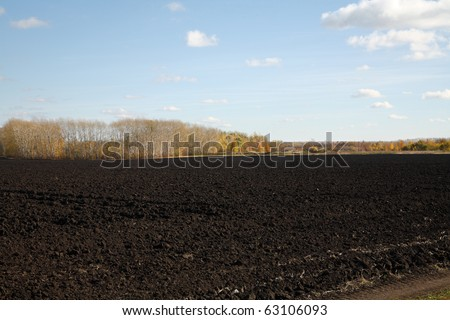 Arable earth (black earth) in autumn after harvesting