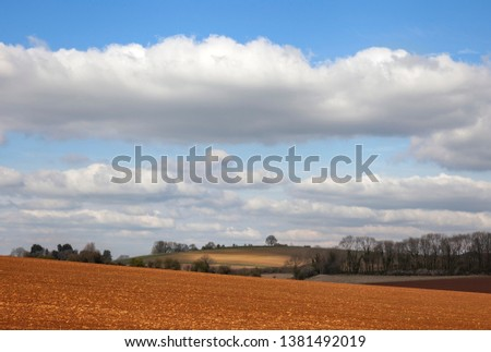 Arable farmland near Taddington, Cotswolds, Gloucestershire, England #1381492019