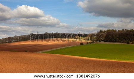Arable farmland near Taddington, Cotswolds, Gloucestershire, England #1381492076