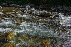 Aragon river at Canfranc, Huesca, Aragon, Spain