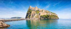 Aragonese Castle is most popular landmark in Tyrrhenian sea near Ischia island, Italy. Castle stands on volcanic rocky islet that connects to mainland of Ischia by causeway.