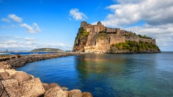 Aragonese castle is the most visited historical landmark on Ischia island in Gulf of Naples, Italy