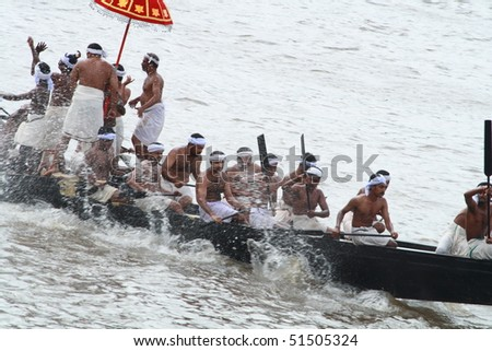 ARANMULA, INDIA - SEPTEMBER 6 : Participants of Snake Boat race September 6, 2009 in Aranmula, Kerala,  India. - stock photo