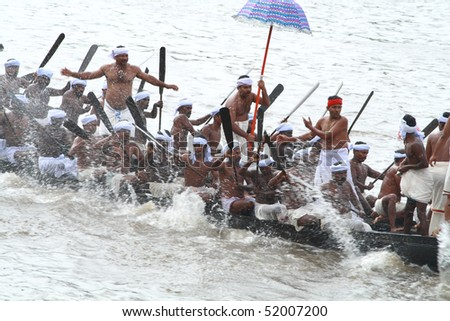 ARANMULA, INDIA - SEPTEMBER 6 : Participants of Snake Boat race September 6, 2009 in Aranmula, Kerala, India.