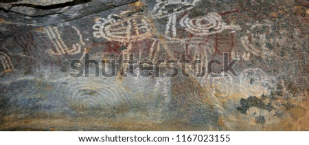 Arawak petroglyphs at Ayo Rock Formations are monolithic rock boulders located on the island of Aruba in the Caribbean.