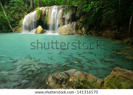 arawan waterfall in Kanchanaburi Thailand - stock photo