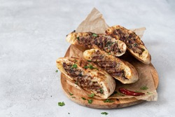 Arayes- pita bread  filled with a mixture of minced meat with different spices