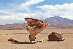 Arbol de Piedra or stone tree on Altiplano, Bolivia / Salvador Dali Rock