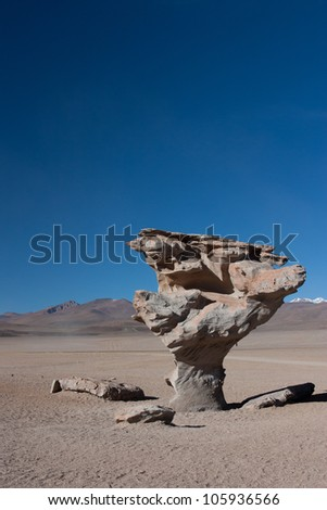 Arbol de Piedra (tree of rock), rock formation created by wind, on the Siloli desert in Eduardo Avaroa Andean Fauna National Reserve in Bolivia.