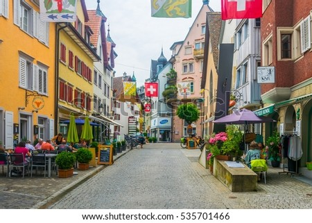 ARBON, SWITZERLAND, JULY 22, 2016: view of the main street of the swiss town Arbon famous for ist saint martin church and castle