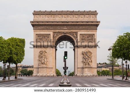 Arc de Triomphe (Arch of Triumph) in l'Etoile on Charles de Gaulle, Paris, France.
