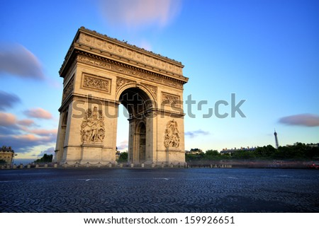 Arc de triomphe at Sunset Paris