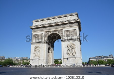 Arc de Triomphe at the Place Charles de Gaulle in Paris, France.